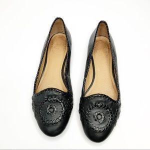 Jack Rogers Waverly Black Leather Ballet Flats 8.5